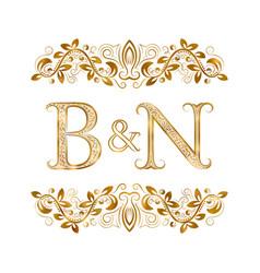Bn vintage initials logo symbol letters b vector