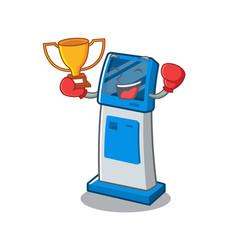 Boxing winner digital information cartoon kiosk vector