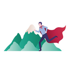 Businessman running with flag and mountain vector