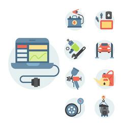 Car service parts flat auto vector