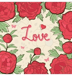 Card with peonies vector