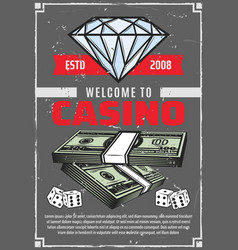 casino diamond and money poster vector image