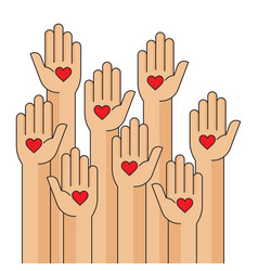 charity event hands raised heart in the palm vector image