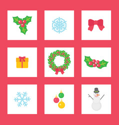 christmas wreath with mistletoe ribbon and gift vector image