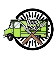 Color vintage Food truck emblem vector image