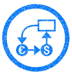 Currency flow chart rounded icon rubber stamp vector