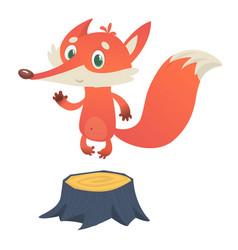 Cute cartoon fox character standing on stump vector