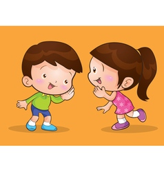 Cute children talk and listening vector