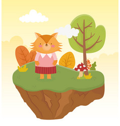 Cute fox with female clothes forest nature vector