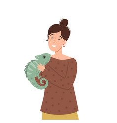 Cute woman and iguana vector