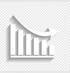 Declining graph sign white icon with soft vector