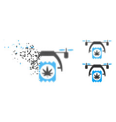 Dissolving dotted halftone cannabis drone delivery vector