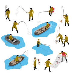 Fishing situations isometric set vector
