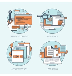 Flat avatar icons Business concept global vector image