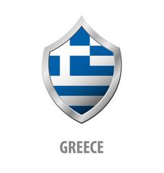 greece flag on metal shiny shield vector image