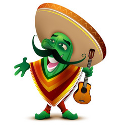 Green mexican cactus in sombrero and poncho sings vector