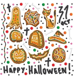 Halloween cookies Symbols of Halloween Set vector