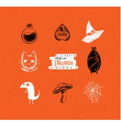 halloween scary elements orange vector image
