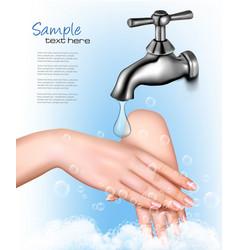 Hand washing to protect from coronavirus vector