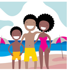 happy african american family on the beach summer vector image