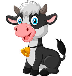 happy baby cow sitting on white background vector image