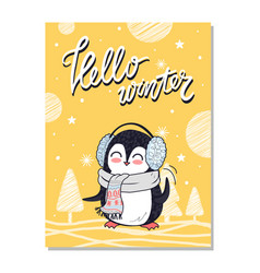 Hello winter bright postcard vector
