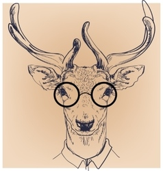Hipster portrait of deer with glasses vector