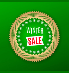 holiday banner of winter sale green golden vector image