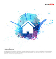 Home icon - watercolor background vector
