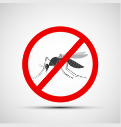 Icon prohibitory sign with a mosquito vector