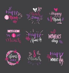 International women day badges on grey background vector