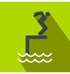 Jumping in a pool flat icon vector