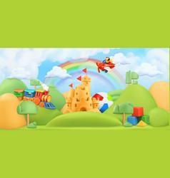 kids toys landscape 3d background plasticine art vector image