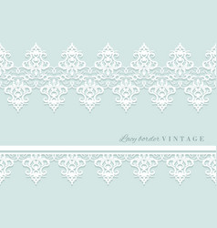 Lace decorative border set on pastel blue bridal vector