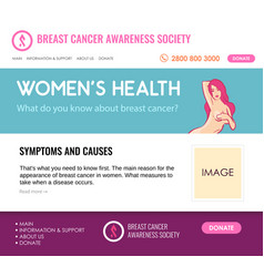 layout for website about breast cancer vector image