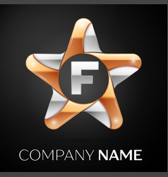 Letter f logo symbol in the colorful star on black vector