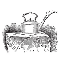 Liquid air boiling on a block of ice vintage vector