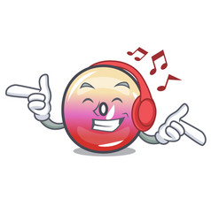 listening music jelly ring candy mascot cartoon vector image