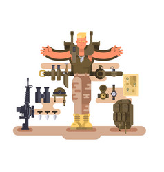 Military soldier rookie and ammunition design flat vector
