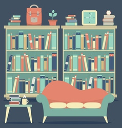 Modern Design Interior Chairs and Bookshelf vector image