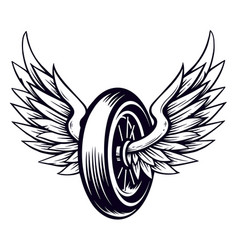 Motorcycle wheel with wings vector