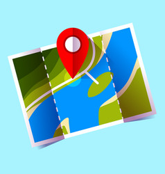 navigation icon red pin on map icon vector image
