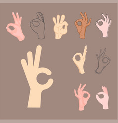 Ok hands success gesture okey yes agreement signal vector