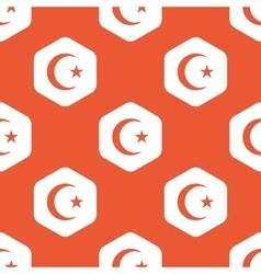 Orange hexagon Turkey symbol pattern vector image