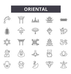 oriental line icons signs set linear vector image