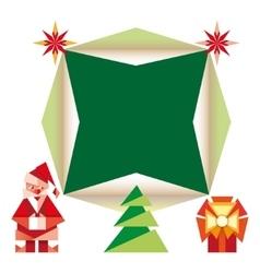 Origami christmas icons cartoon vector image