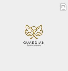 Owl line art business logo template vector