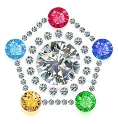 Pentagon composition colored gems set vector