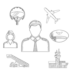 Pilot profession and aircraft sketched icons set vector