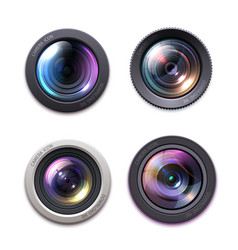 professional photo video camera lens icons vector image